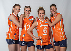 10-05-2018 NED: Team shoot Dutch volleyball team women, Arnhem<br /> (L-R) Lonneke Sloetjes #10 of Netherlands, Britt Bongaerts #12 of Netherlands, Maret Balkestein-Grothues #6 of Netherlands, Anne Buijs #11 of Netherlands