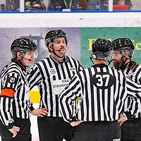 2019-11-20 | Umeå, Sweden:The Domare Referee club in  HockeyAllsvenskan during the game  between Björklöven and Västervik at A3 Arena ( Photo by: Michael Lundström | Swe Press Photo )<br /> <br /> Keywords: Umeå, Hockey, HockeyAllsvenskan, A3 Arena, Björklöven, Västervik, mlbv191120
