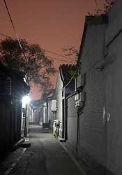 View of historic lane or hutong at night  in Beijing China
