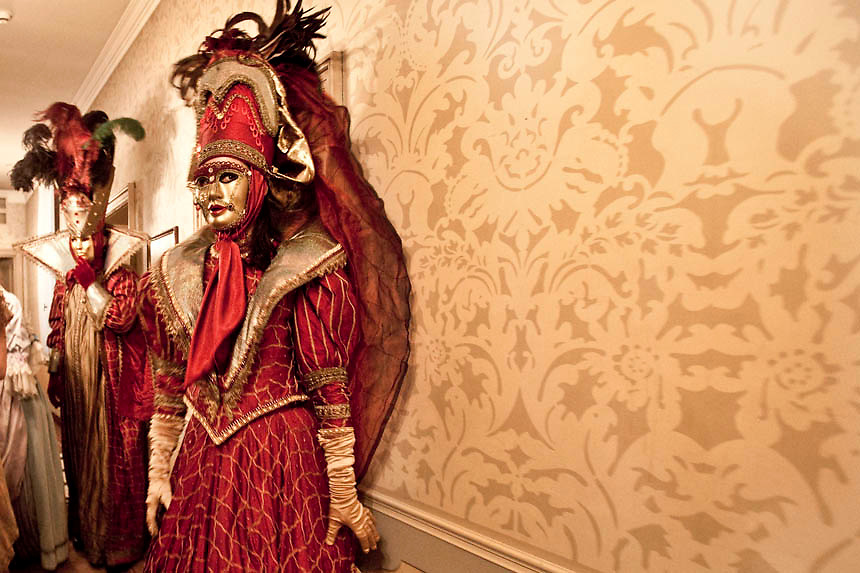 Masked revellers attend a ballroom party at Danieli Hotel  during the first day of the Venetian Carnival in Venice.