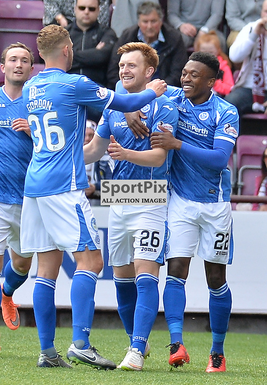 Liam Craig (St Johnstone) (centre) celebrates with team mates after opening the scoring from the penalty spot.<br /> <br /> (c) DAVE JOHNSTON | SportPix