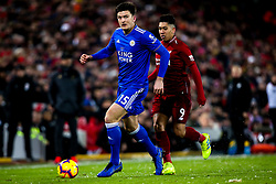Harry Maguire of Leicester City takes on Roberto Firmino of Liverpool - Mandatory by-line: Robbie Stephenson/JMP - 30/01/2019 - FOOTBALL - Anfield - Liverpool, England - Liverpool v Leicester City - Premier League