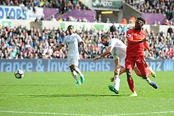 Daniel Sturridge of Liverpool shoots at goal. - Mandatory by-line: Alex James/JMP - 01/10/2016 - FOOTBALL - Liberty Stadium - Swansea, England - Swansea City v Liverpool - Premier League