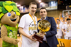 Gregor Hrovat #15 of KK Union Olimpija celebrates after wining during basketball match between KK Union Olimpija and KK Rogaska in 4th Final game of Liga Nova KBM za prvaka 2016/17, on May 24, 2017 in Hala Tivoli, Ljubljana, Slovenia. Photo by Vid Ponikvar / Sportida