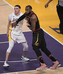 March 11, 2018 - Los Angeles, California, U.S - LeBron James #23 of the Cleveland Cavaliers tries to get past Lonzo Ball #2 of the Los Angeles Lakers during their NBA game on Sunday March 11, 2018 at the Staples Center in Los Angeles, California. Lakers defeat Cavaliers, 127-113. (Credit Image: © Prensa Internacional via ZUMA Wire)