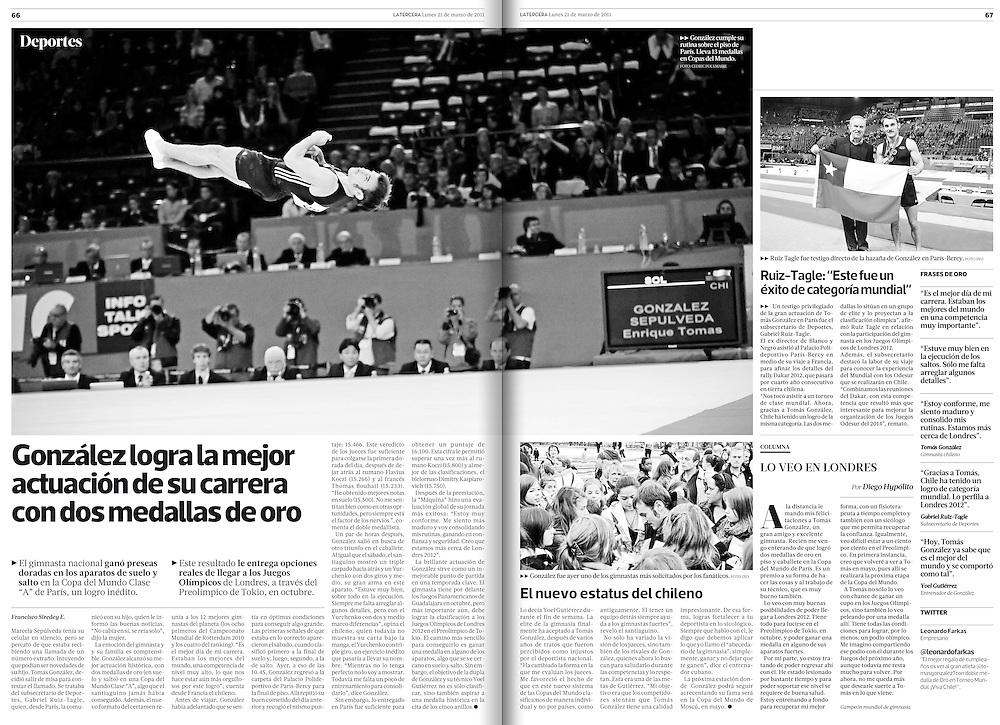 Tomas Gonzalez dans le quotidien Chilien La Tercera pour une double page.