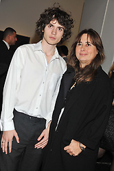 ALEXANDRA SHULMAN and her son SAM SPIKE at a party to celebrate the launch of the new gallery Pace at 6 Burlington Gardens, London on 3rd October 2012.