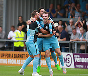Wycombe Wanderers player Garry Thompson celebrates his goal during the Sky Bet League 2 match between Barnet and Wycombe Wanderers at The Hive Stadium, London, England on 15 August 2015. Photo by Bennett Dean.