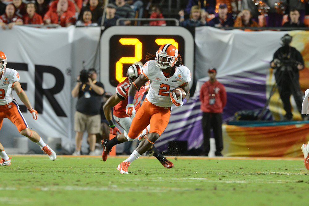 January 3, 2014: Sammy Watkins #2 of Clemson rushes upfield during the NCAA football game between the Clemson Tigers and the Ohio State Buckeyes at the 2014 Orange Bowl in Miami Gardens, Florida. The Tigers defeated the Buckeyes 40-35.