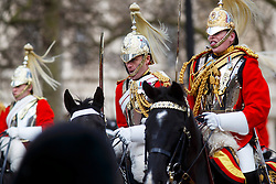 © Licensed to London News Pictures. 03/03/2015. LONDON, UK. A procession of Royal Cavalry parading on the Mall during Mexican President's state visit in central London on Tuesday, 3 March 2015. Photo credit : Tolga Akmen/LNP