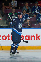 PENTICTON, CANADA - SEPTEMBER 8: Antoine Cnete-belzile #72 of Winnipeg Jets celebrates a goal against the Vancouver Canucks on September 8, 2017 at the South Okanagan Event Centre in Penticton, British Columbia, Canada.  (Photo by Marissa Baecker/Shoot the Breeze)  *** Local Caption ***