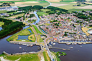 Nederland, Groningen, Gemeente  De Marne, 05-08-2014; Zoutkamp met zeesluis. Voormalig vissersdorp gelegen aan de monding van het Reitdiep in de Lauwerszee, bekend van Heiploeg Garnalen.<br /> Former fishing village, known for Heiploeg Shrimps, port and marina on the Reitdiep, near Lauwers Lake, former Lauwers Sea<br /> <br /> luchtfoto (toeslag op standard tarieven);<br /> aerial photo (additional fee required);<br /> copyright foto/photo Siebe Swart