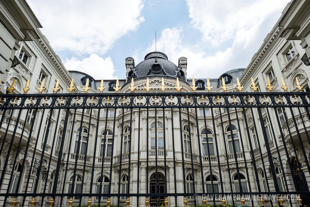 A black and gold fence protects a building in the royal quarter of Brussels, Belgium.