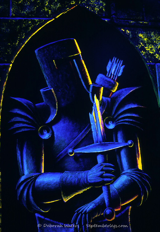 Sir Real, portrait of a knight in armour painted in ultra violet, UV Trompe L'Oeil, 50 Aston Street, Oxford, England 2004