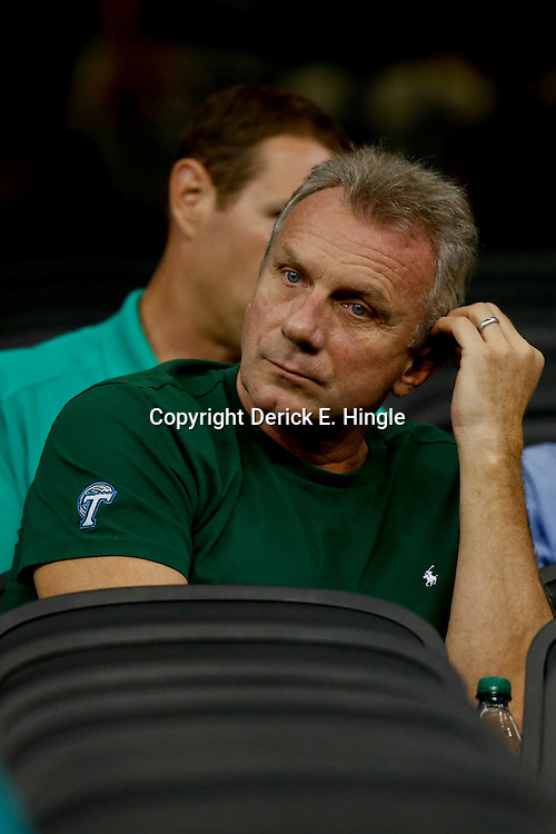 Aug 29, 2013; New Orleans, LA, USA; Former NFL player Joe Montana in attendance to watch his son Tulane Green Wave quarterback Nick Montana (not pictured) against the Jackson State Tigers at the Mercedes-Benz Superdome. Tulane defeated Jackson State 34-7. Mandatory Credit: Derick E. Hingle-USA TODAY Sports