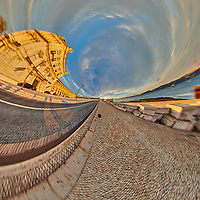Comércio Plaza (Praça do Comércio). Tunnel View (90 degrees). Composite of 31 images taken with a Nikon D850 camera and 8-15 mm fisheye lens (ISO 200, 15 mm, f/11, 1/60 sec). Raw images processed with Capture One Pro and Auto Pano Giga.