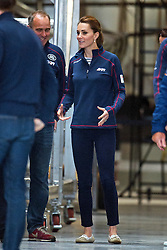 © London News Pictures. 26/07/2015. CATHERINE, Duchess of Cambridge during a visit to Land Rover BAR (Ben Ainslie Racing) in Portsmouth, South Hampshire, as part of a visit to the America's Cup World Series with Prince William. Photo credit: Ben Cawthra/LNP