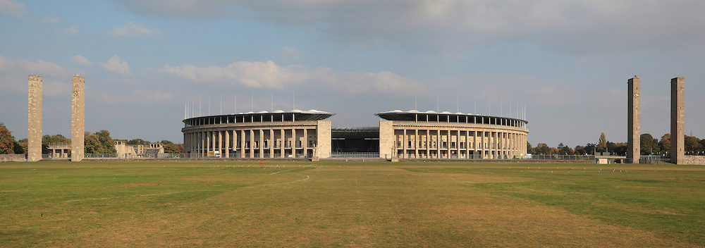 Olympiastadion, built by Werner March for the 1936 Summer Olympics, Olympiapark Berlin, Berlin, Germany. The stadium itself was rebuilt and reinaugurated in 2004. Picture by Manuel Cohen
