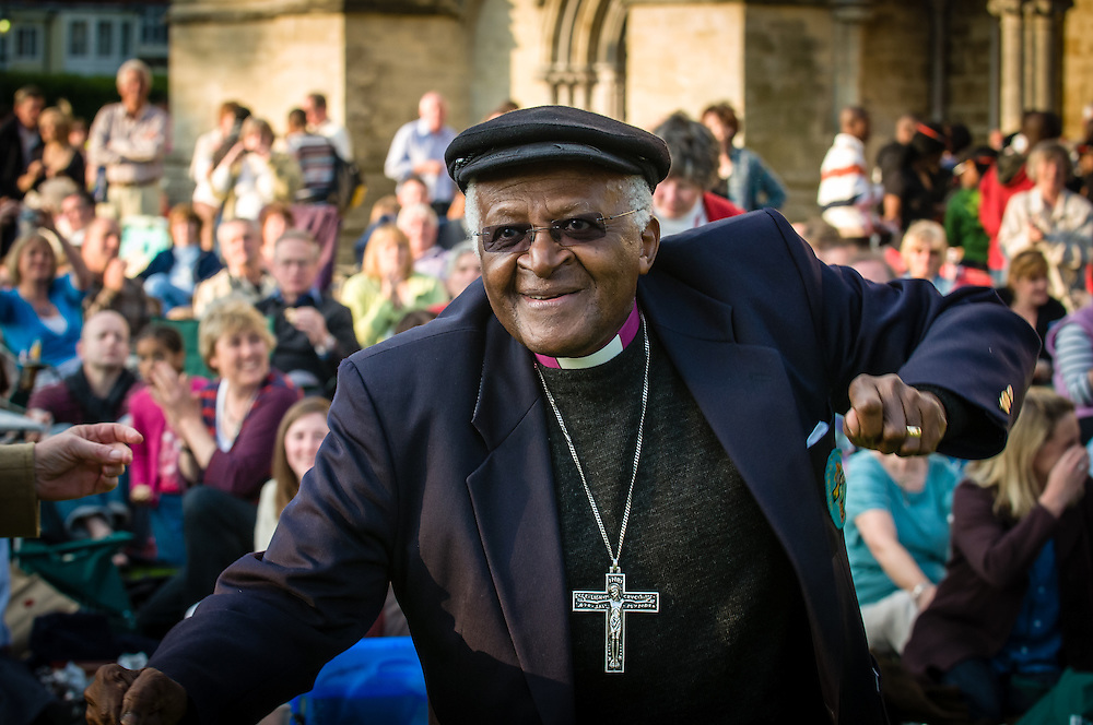 Archbishop Desmond Tutu relaxing and listening to the music at Salisbury Festival