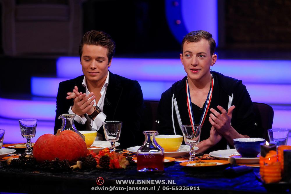 NLD/Hilversum/20121028 - Uitzending Life4You met Carlo Boszhard en Irene Moors, organisator Mr.Gay  Thom Goderie en Bobby de Vries, winnaar Mr.Gay 2012