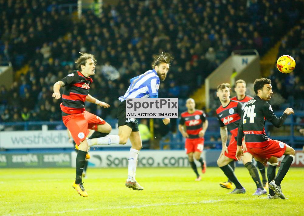 Atdhe Nuhiu scores a bullet header during Sheffield Wednesday v QPR, SkyBet Championship, Tuesday 23rd February 2016, Hilsborough, Sheffield