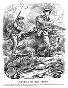 America to the front. [In view of the present needs of the allies, America has not waited to complete the independent organisation of her army, but has sent her troops to be brigaded with British and French units.]