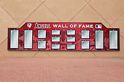 ANAHEIM, CA - MAY 22:  The Los Angeles Angels of Anaheim Wall of Fame displays the names of players and others inducted into their honor roll at the game between the Atlanta Braves and the Los Angeles Angels of Anaheim on Sunday, May 22, 2011 at Angel Stadium in Anaheim, California. The Angels won the game 4-1. (Photo by Paul Spinelli/MLB Photos via Getty Images)