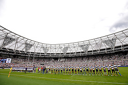 The two sides line up during the anthems - Mandatory byline: Rogan Thomson/JMP - 07966 386802 - 29/08/2015 - RUGBY UNION - The Stadium at Queen Elizabeth Olympic Park - London, England - Barbarians v Samoa - International Friendly.
