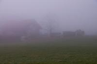 Swiss farmhouse dimly visible in the fog, near Zufikon, Switzerland.