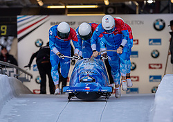 19.01.2020, Olympia Eiskanal, Innsbruck, AUT, BMW IBSF Weltcup Bob und Skeleton, Igls, Bob Viersitzer, Herren 2. Lauf, im Bild Pilot Dominik Dvorak mit Dominik Suchy, Jan Sindelar, Jakub Nosek (CZE) // Pilot Dominik Dvorak with Dominik Suchy Jan Sindelar Jakub Nosek of Czech Republic during their 2nd run of four-man Bobsleigh competition of BMW IBSF World Cup at the Olympia Eiskanal in Innsbruck, Austria on 2020/01/19. EXPA Pictures © 2020, PhotoCredit: EXPA/ Peter Rinderer
