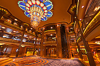 The art deco lobby atrium on the new Disney Dream cruise ship sailing between Florida and the Bahamas.