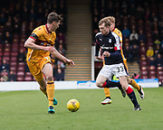 Dundee&rsquo;s Craig Wighton runs at the Motherwell defence - Motherwell v Dundee, Fir Park, Motherwell, Photo: David Young<br /> <br />  - &copy; David Young - www.davidyoungphoto.co.uk - email: davidyoungphoto@gmail.com