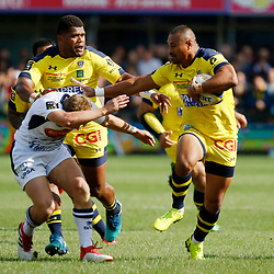 Isaia Toeava of Clermont and Jake Mc Intyre of Agen during Top 14 match between Clermont and Agen on August 25, 2018 in Perpignan, France. (Photo by Romain Biard/Icon Sport)