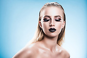 Long lashes fresh summer look, with black lips