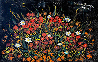 floral composition with red, white, yellow, green, shades of green and orange flowers on black enamel background, with nuances, lines and shades.