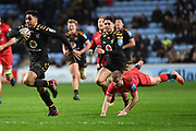 Wasps fullback Marcus Watson 15) runs with the ball during the Gallagher Premiership Rugby match between Wasps and Saracens at the Ricoh Arena, Coventry, England on 21 February 2020.