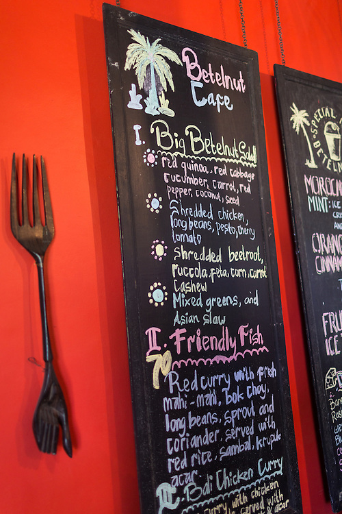 Menu at Betelnut Cafe.