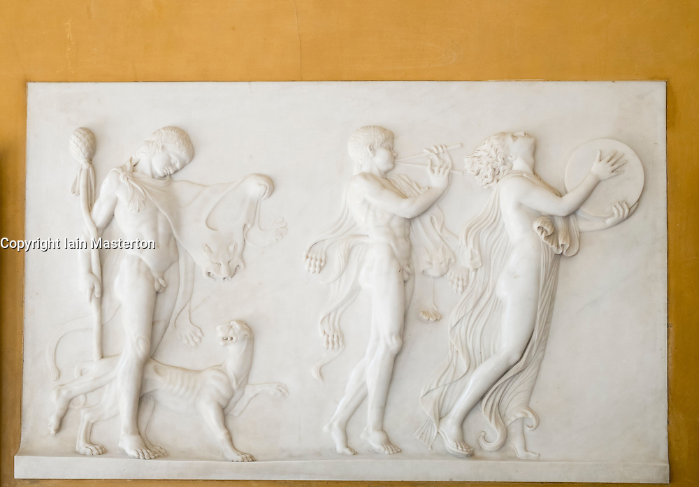 Relief decoration on wall of villa where Wannsee Conference was held during Second World War in Berlin Germany