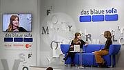 """Frankfurt Book Fair 2014, biggest of its kind in the World. Das blaue Sofa. Olga Grjasnowa (l.) talks about her new book """"Die juristische Unschärfe einer Ehe""""."""