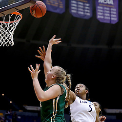 Mar 24, 2013; Baton Rouge, LA, USA; Cal Poly Mustangs center Molly Schlemer (43) shoots over Penn State Lady Lions forward Talia East (5) in the first half during the first round of the 2013 NCAA womens basketball tournament at the Pete Maravich Assembly Center. Mandatory Credit: Derick E. Hingle-USA TODAY Sports