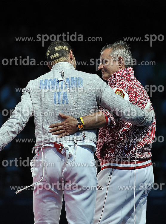 03.08.2012, ExCeL Exhibition Centre, London, GBR, Olympia 2012, Fechten, im Bild Celebration Aldo MONTANo (ITA) BRONZE Medal con Christian Bauer // during fencing, at the 2012 Summer Olympics at ExCeL Exhibition Centre, London, United Kingdom on 2012/08/03. EXPA Pictures © 2012, PhotoCredit: EXPA/ Insidefoto/ Giovanni Minozzi  *****ATTENTION - for AUT, SLO, CRO, SRB, SUI and SWE only *****