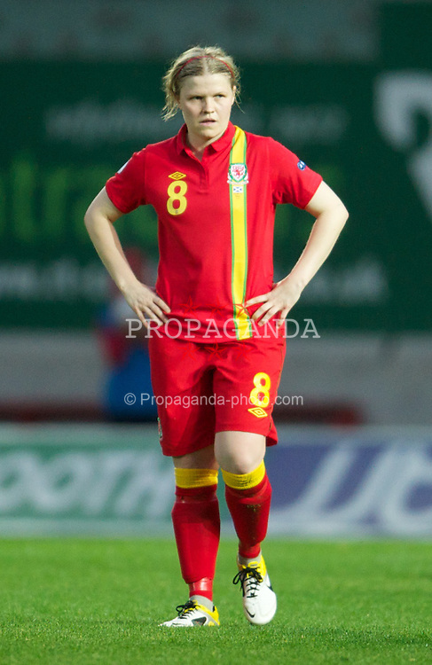 LLANELLI, WALES - Saturday, September 15, 2012: Wales' Michelle Green looks dejected as Scotland score the second goal during the UEFA Women's Euro 2013 Qualifying Group 4 match at Parc y Scarlets. (Pic by David Rawcliffe/Propaganda)
