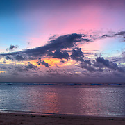 Sunrise in the Sanur beach area of the Indonesian island of Bali.