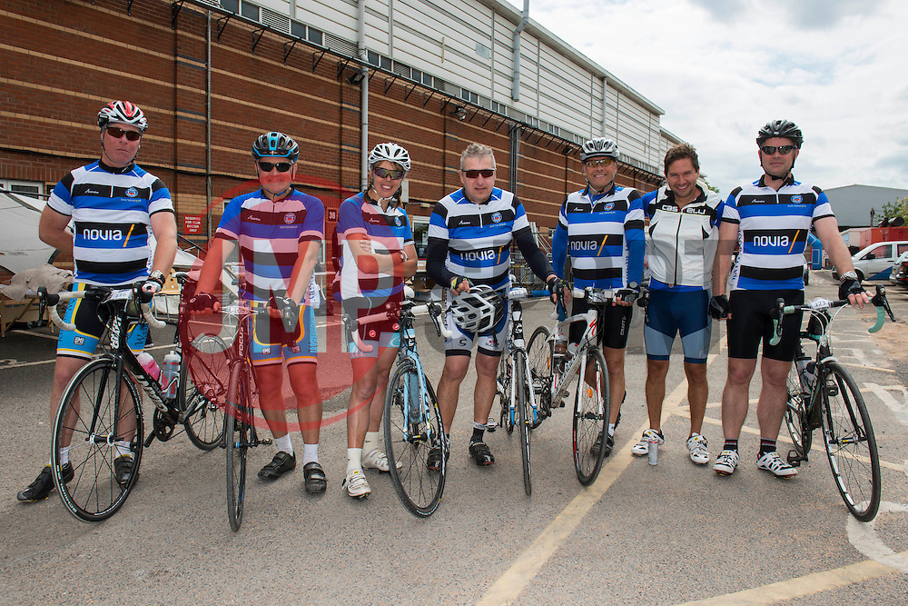 Participants (116, 108, 135, 152, 154, 122, 123)  at Ashton Gate take part in Break the Cycle, a 110 mile charity bike ride organised by the Bristol, Bath and Gloucester Rugby Community Foundations, visiting their respective stadia, Ashton Gate, The Recreation Ground and Kingsholm Stadium  - Photo mandatory by-line: Dougie Allward/JMP - Mobile: 07966 386802 - 14/06/2015 - SPORT - Cycling - Bristol - Ashton Gate - Bristol Rugby Community Foundation - Break the Cycle