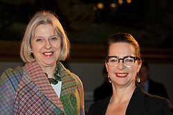 © licensed to London News Pictures. London, UK 02/02/12. Home Secretary Theresa May and Head of LCF Fraces Corner attends to London College of Fashion (LCF) catwalk at V&A Museum in London. Photo credit: Tolga Akmen/LNP