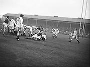 Irish Rugby Football Union, Ireland v England, Five Nations, Landsdowne Road, Dublin, Ireland, Saturday 14th February, 1953,.14.2.1953, 2.14.1953,..Referee- MR A W C Austin, Scottish Rugby Union, ..Score- Ireland 9 - 9 England, ..Irish Team,..R J Gregg, Wearing number 15 Irish jersey, Full Back, Queens University Rugby Football Club, Belfast, Northern Ireland,..M F Lane,  Wearing number 14 Irish jersey, Right wing, University college Cork Football Club, Cork, Ireland,  ..N J Henderson, Wearing number 13 Irish jersey, Right centre, N.I.F.C, Rugby Football Club, Belfast, Northern Ireland,..K Quinn, Wearing number 12 Irish jersey, Left Centre, Old Belvedere Rugby Football Club, Dublin, Ireland,  ..M Mortell, Wearing number 11 Irish jersey, Left wing, Bective Rangers Rugby Football Club, Dublin, Ireland,.  .J W Kyle, Wearing number 10 Irish jersey, Stand Off, Captain of the Irish team, N.I.F.C, Rugby Football Club, Belfast, Northern Ireland,..J A O'Meara, Wearing number 9 Irish jersey, Scrum, University college Cork Football Club, Cork, Ireland,  ..W A O'Neill, Wearing number 1 Irish jersey, Forward, University College Dublin Rugby Football Club, Dublin, Ireland, ..R Roe, Wearing number 2 Irish jersey, Forward, Dublin University Rugby Football Club, Dublin, Ireland,..F E Anderson, Wearing number 3 Irish jersey, Forward, Queens University Rugby Football Club, Belfast, Northern Ireland,..T E Reid, Wearing number 4 Irish jersey, Forward, Garryowen Rugby Football Club, Limerick, Ireland, ..J R Brady, Wearing number 5 Irish jersey, Forward, C I Y M S Rugby Football Club, Belfast, Northern Ireland, . . J S McCarthy, Wearing number 6 Irish jersey, Forward, Dolphin Rugby Football Club, Cork, Ireland, ..R Kavanagh, Wearing number 7 Irish jersey, Forward, University College Dublin Rugby Football Club, Dublin, Ireland,..W E Bell, Wearing number 8 Irish jersey, Forward, Collegians Rugby Football Club, Belfast, Northern Ireland,.  .Engish Team,..N M Hall, Wearing number 1 Engish jer