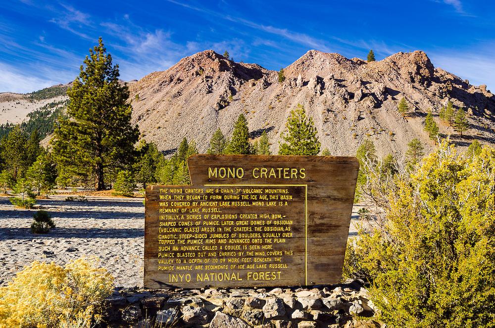 Interpretive sign at Mono Craters, Mono Basin National Scenic Area, California USA