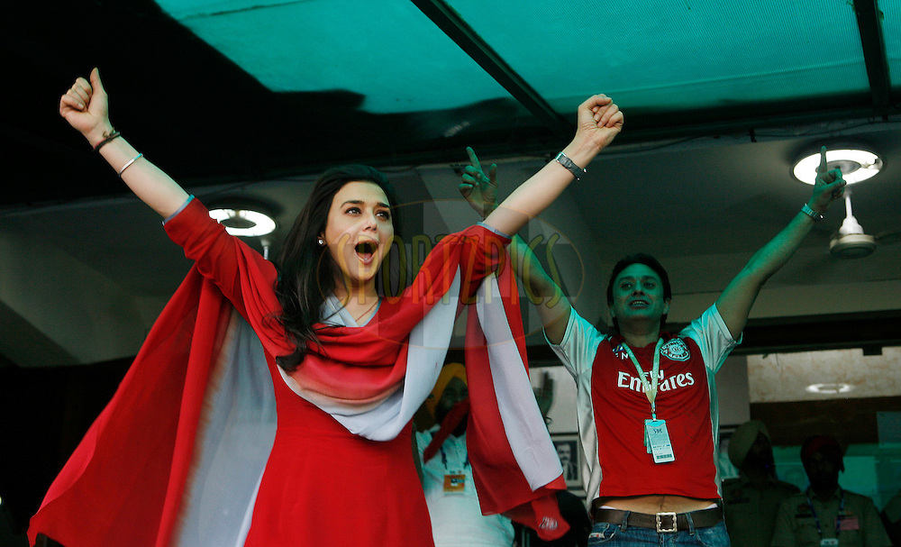 Bollywood actress and Kings XI Punjab team owner Priety Zinta cheer for her team during match 9 of the Indian Premier League ( IPL ) Season 4 between the Kings XI Punjab and the Chennai Super Kings held at the PCA stadium in Mohali, Chandigarh, India on the 13th April 2011..Photo by Money Sharma/BCCI/SPORTZPICS