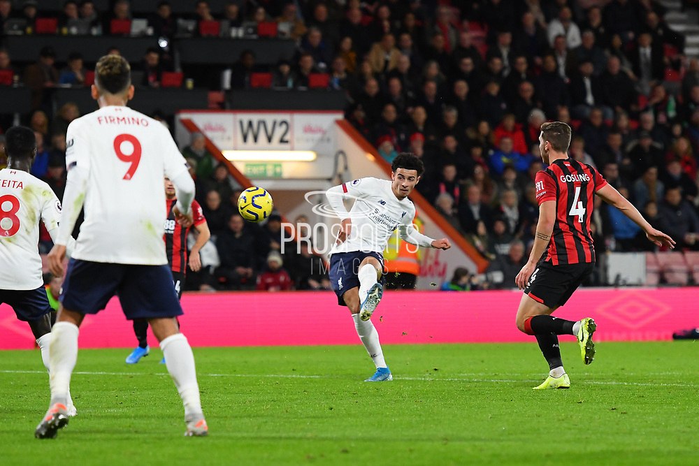 Curtis Jones (48) of Liverpool shoots at goal during the Premier League match between Bournemouth and Liverpool at the Vitality Stadium, Bournemouth, England on 7 December 2019.