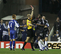 Photo: Lee Earle.<br /> Reading v Chelsea. The Barclays Premiership. 14/10/2006. Chelsea's John Obi Mikel is shown the red card.